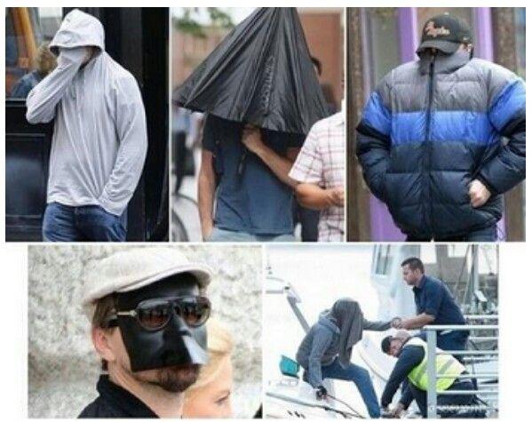 Leonardo DiCaprio hiding from paparazzi. This is why I love him so ... Leonardo Dicaprio