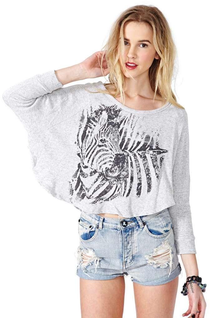 Zebra Crossing Crop Sweatshirt
