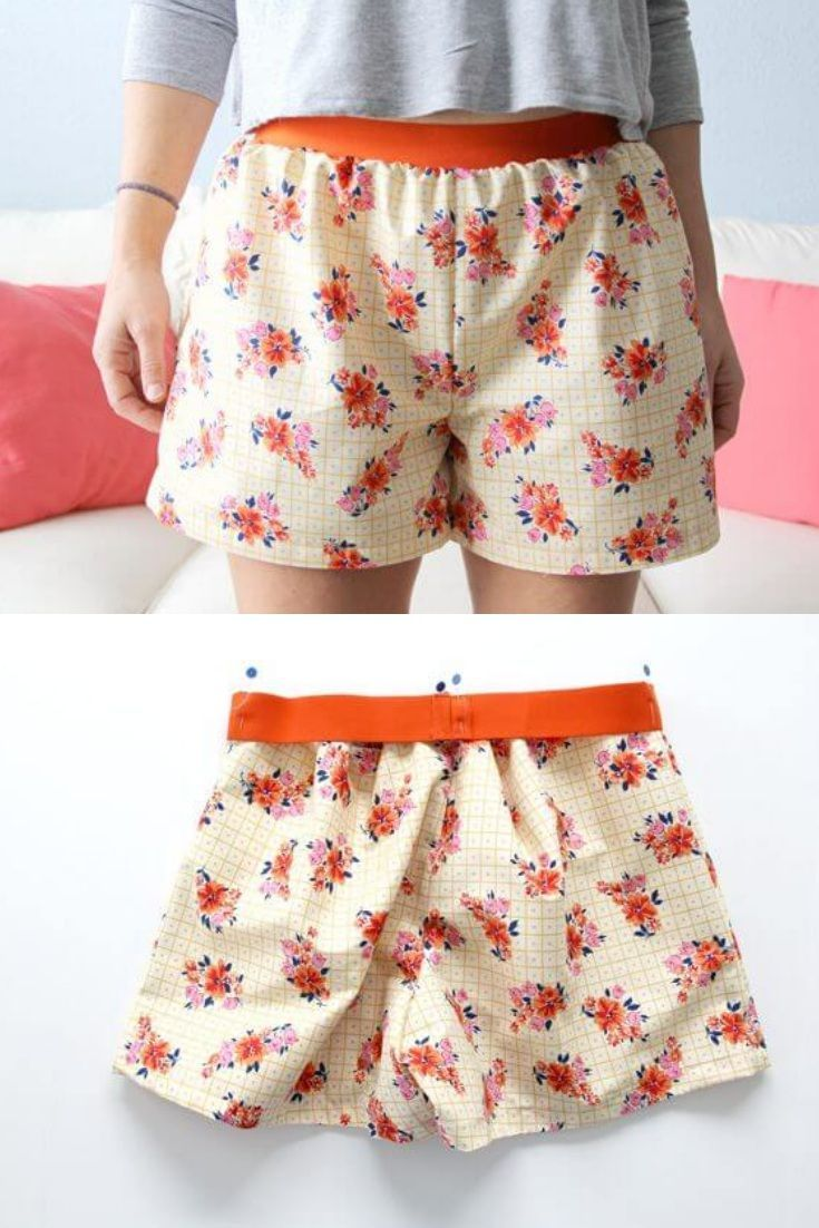 Einfache Damenshorts, auch für Anfänger leicht zu nähen. PDF-Schnittmuster zum Drucken in Gr. XS - XXL Free sewing pattern for woman pyjama shorts. Easy to sew in size XS - XXL.