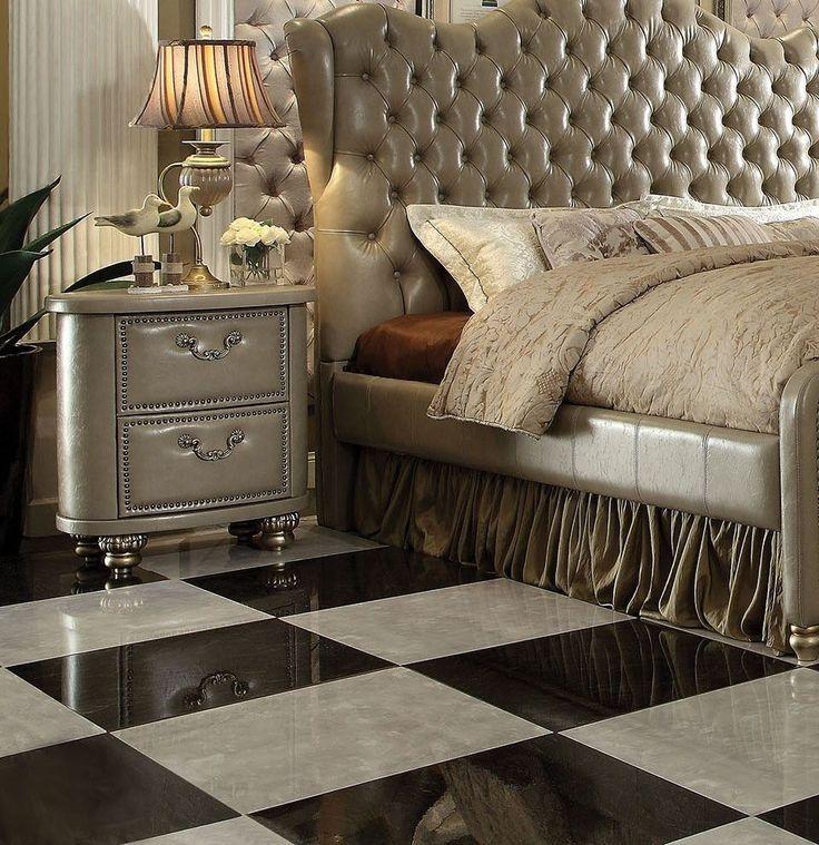Acme Varada 4 Pcs Vintage Bone Upholstery California King Bedroom Sets