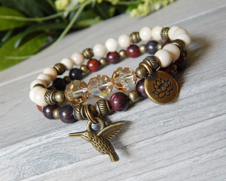 Stacked Beaded Bracelet with Lotus Flower and Hummingbird