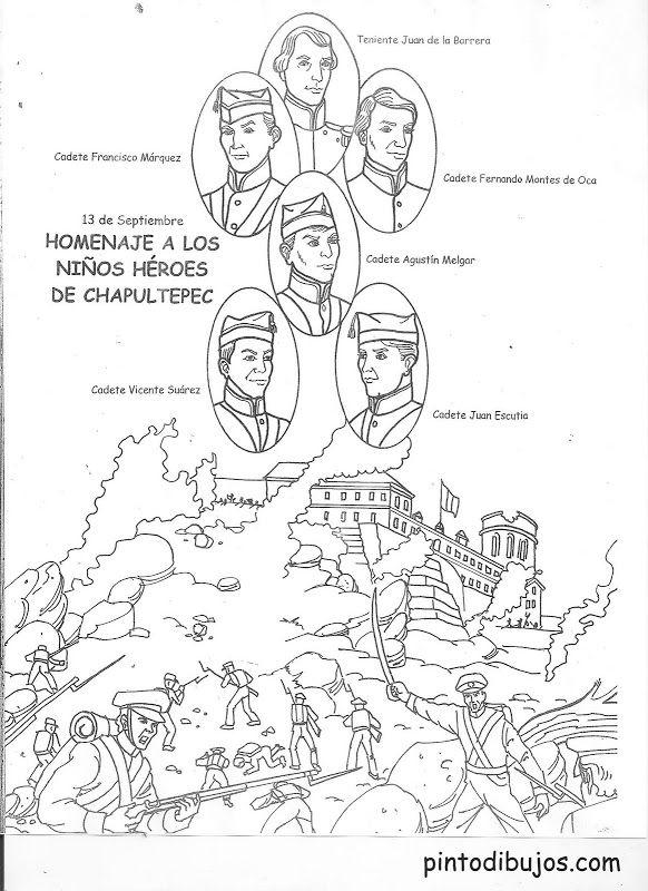 Niños héroes – 13 de septiembre – dibujo para colorear | Maestro ...