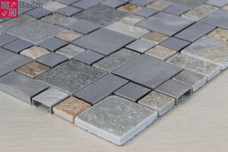 Mosaico In Vetro Piastrelle di Marmo Alluminio nuovo