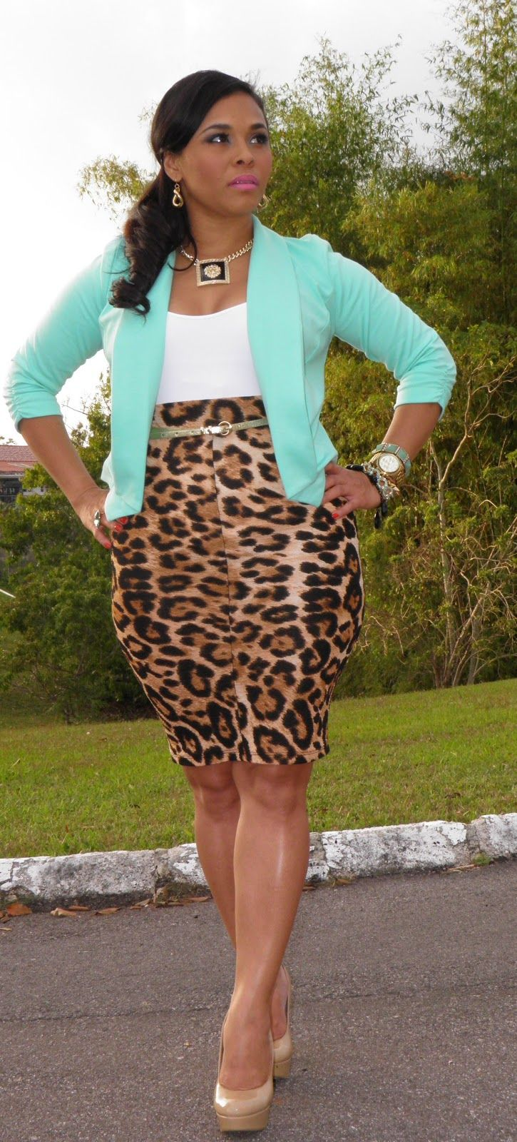 Mint Green Blazer, White Top and Leopard Straight Skirt with Gold Accessories
