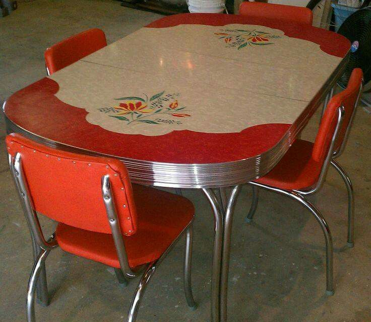 vintage kitchen formica table 4 chairs chrome orange red whitegray retro eames iu0027d love a retro kitchen table set