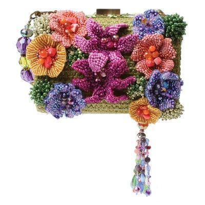Provence  ~  Mary Frances  Bright and beautiful colors light up the cleverly adorned body of Provence! This convertible clutch has extraordinary details of beadwork mastery. This bag is perfect for any occasion! Wear the removable handheld strap as a necklace.