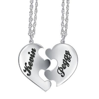 Zales Couples Personalized Puzzle Heart Pendant in Sterling Silver (2 Names) SmZ5Z