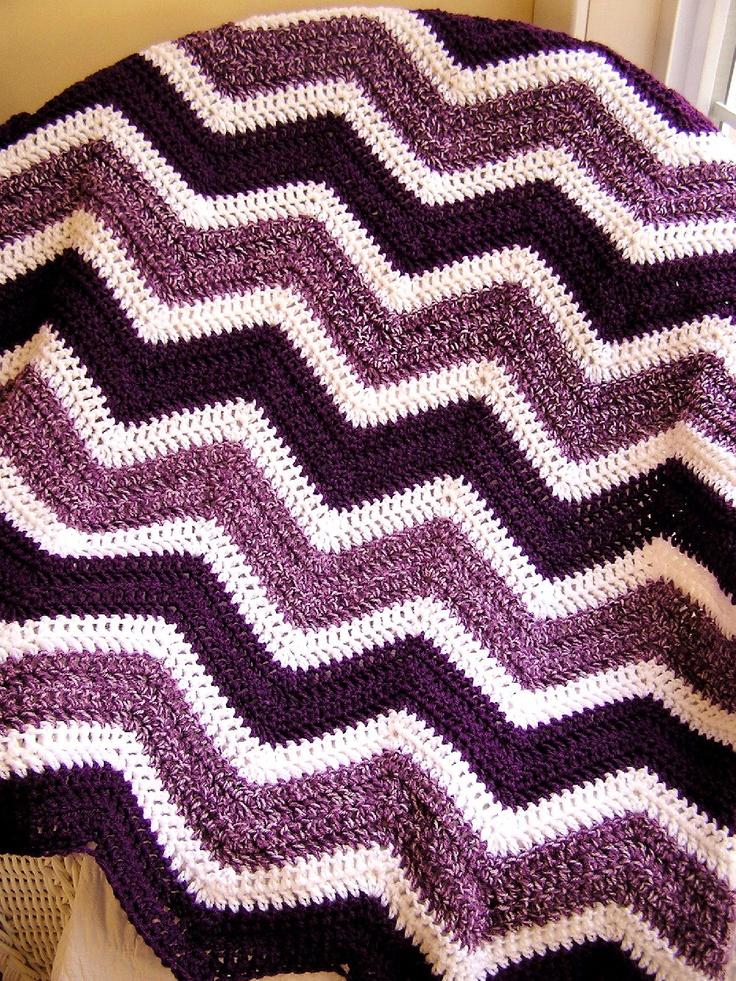 chevron zig zag baby blanket crochet afghan wrap lap robe wheelchair ripple stripes lion brand VANNA WHITE yarn purple white made in the USA. $75.00, via Etsy.