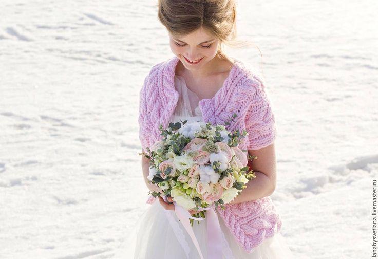 Купить Жакет из объемной шерсти - бледно-розовый, розовый, розовый кварц, жакет, Жакет вязаный