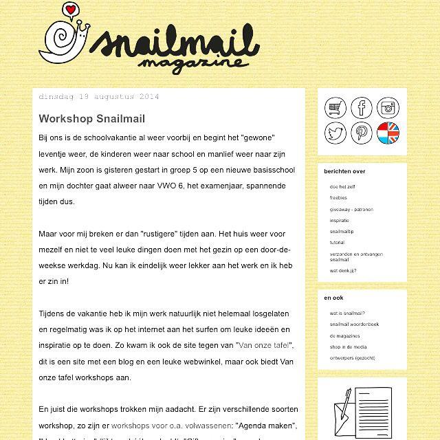 Zo leuk, @snailmailmagazine heeft een blog geschreven over onze Workshop Snailmail. Lezen jullie mee op www.snailmailmagazine.nl?  Ben je daarna enthousiast geworden? Schrijf je dan in voor de workshop snailmail op maandag 8 september in Meppel. Meer info en opgeven kan via http://www.vanonzetafel.nl/workshops/snailmail-maken  En bezoek ook de webshop van Snailmail magazine: http://www.snailmailshop.nl voor leuke snailmail spulletjes.