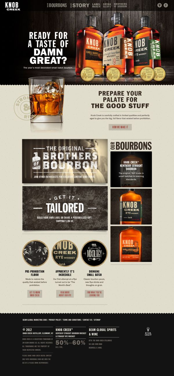 Knob Creek by John Magnifico, via Behance, nice simple clean site, one of the better drink brand sites
