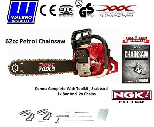 """62cc petrol chainsaw 24"""" 1 bar and 2 chains The perfect solution for all your felling needs with its powerfull 62cc engine combined with the Revolutionary new easy start mechanism what more can you ask for Suitable for both the professional and domestic user"""