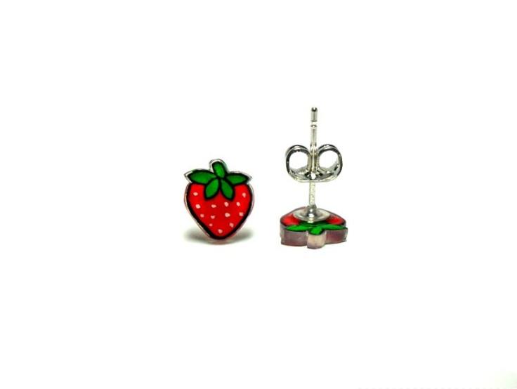 Lil' Strawberries, Post Earrings. $10,50, via Etsy.