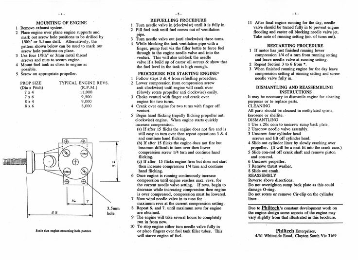 Philtec 1.5cc diesel instructions. rear page