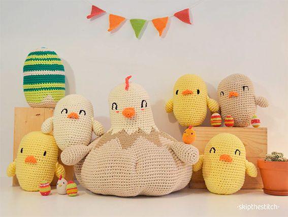 ¡Pascua a lo grande con patrones de huevos y pollos gigantes! | http://www.katia.com/blog/es/patrones-gratis-ganchillo-amigurumi-huevos-pollitos-pascua-xxl/