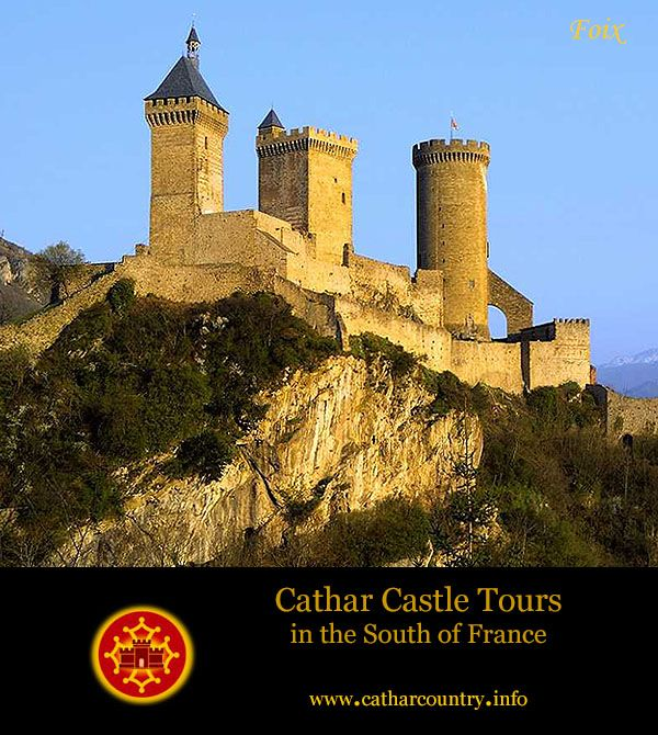 The Château de Foix,  Foix, Ariège, France...     www.catharcountry.info   ...     Built on an older 7th-century fortification, the castle is known from 987. In 1002, it was mentioned in the will of Roger I, Count of Carcassonne, who bequeathed it to his youngest child, representing the branch of the family ruling the region (who became Counts of Foix).
