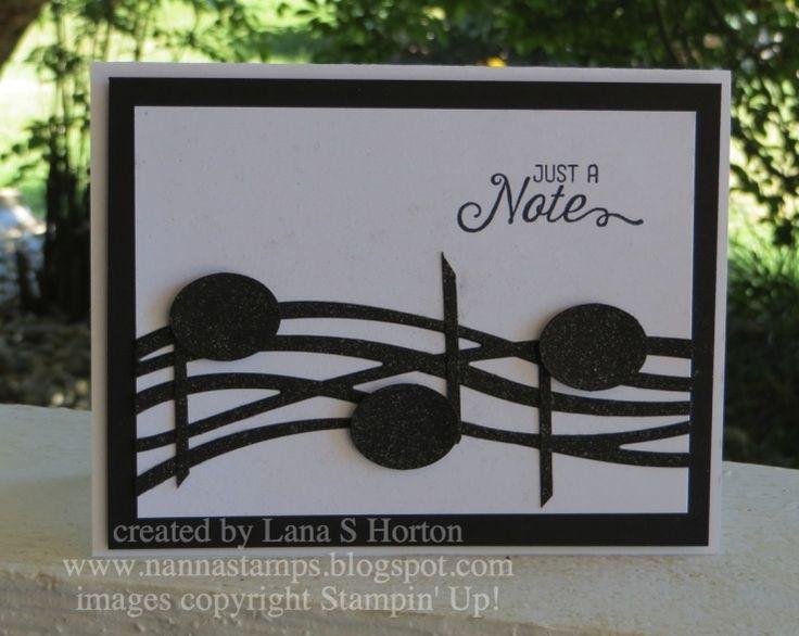 handmade notecard: iSeeMusicLanahorton1 ... Swirly Bird die cut lines as sheet music ... black and white ... Stampin' Up!