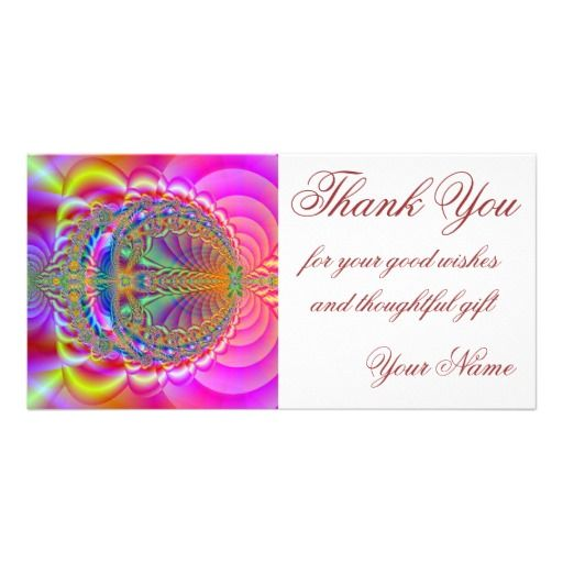 Colorful fractal thank you photocard personalized photo card