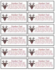 Labels made using MDS for Reindeer food