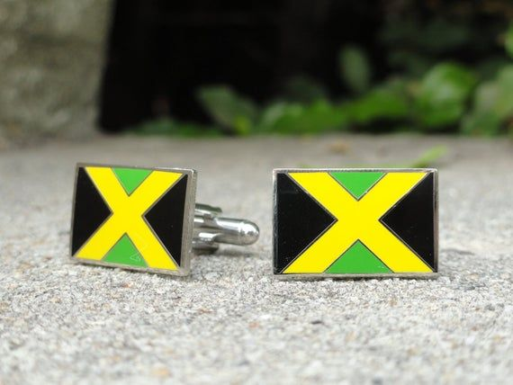 Jamaican Flag Cufflinks Jamaica Flag Cufflinks Groom Cufflinks