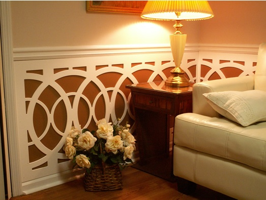 PVC lattice and wainscotting from Acurio Latticeworks. This stuff is so cool. http://www.acuriolattice.com/gallery/interiors.shtmlAcuriolatticework Metropolis, Interiors Wall, Metropolis Circles, Circles Wainscoting, Room Decor, Decor Lattice, Acurio Latticework, Diy, Interiors Ideas