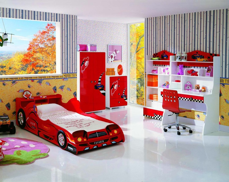 magnificent kids bedroom interior and decoration ideas with japanese bambo wallpaper and racing furnitures themes with incredible red car shaped bed also