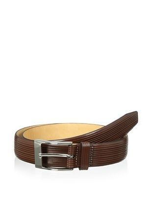 53% OFF Trafalgar Men's Parallel Emboss Print Belt (Brown)