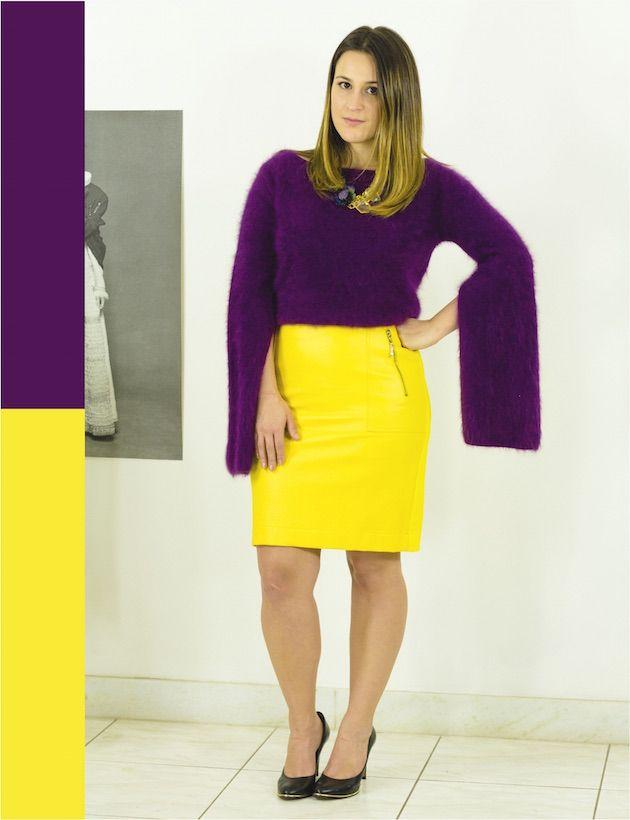 como-combinar-cores-complementares-saia-couro-amarela-cashmere-roxo