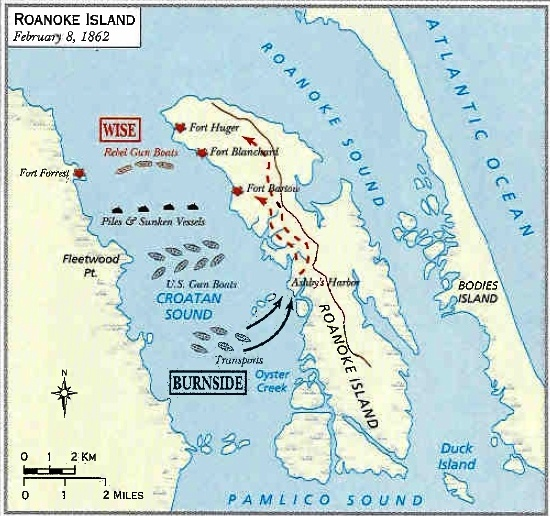 The Battle Of Roanoke Island Ambrose Burnside Captured The Island The Island In Nc