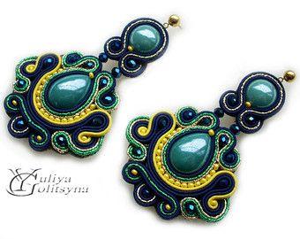 Soutache earrings in emerald green. Soutache от Sengabeads на Etsy