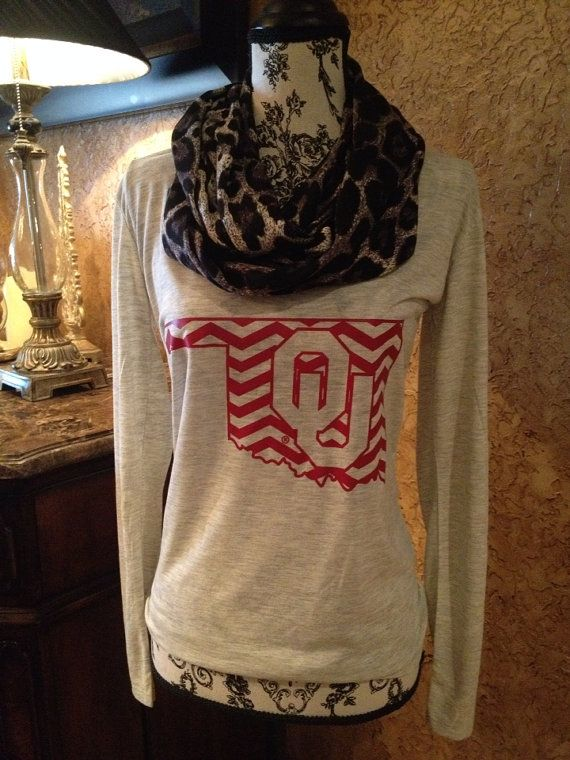 Licensed OU Chevron Print Long Sleeve Tee! @Oklahoma Sooners @University of Oklahoma #sooners #boomersooner