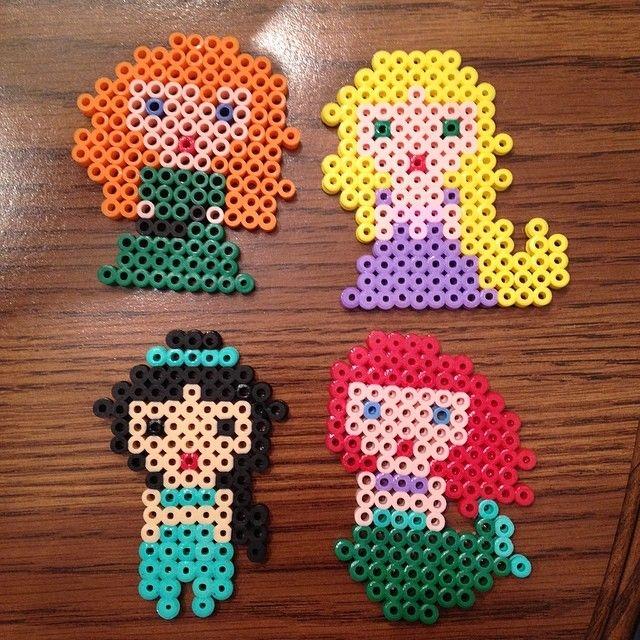 Merida, Rapunzel, Jasmine and Ariel perler beads by perlerobsessed