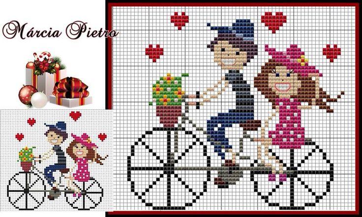 Casal apaixonado bicicleta ponto cruz