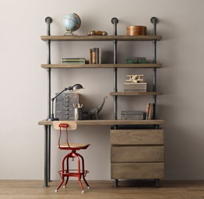 RH baby&child's Industrial Pipe Single Desk & Shelving with Drawers:Sturdy steel pipes and matching cast fittings serve as the structure for our hardworking pieces, while warm wood planks provide support for books and a workspace for the industrious.