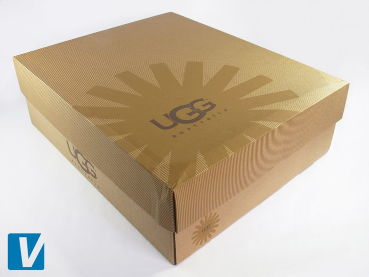 New UGG boots are packaged in a sturdy, brown, 2 piece box featuring the sun starburst logo on the left corner of the lid, and on the side.