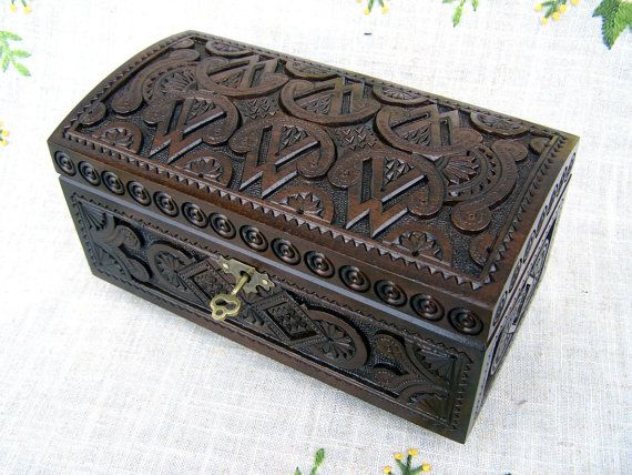 Jewelry box Wooden box with lock Ring box Wood box by HappyFlying