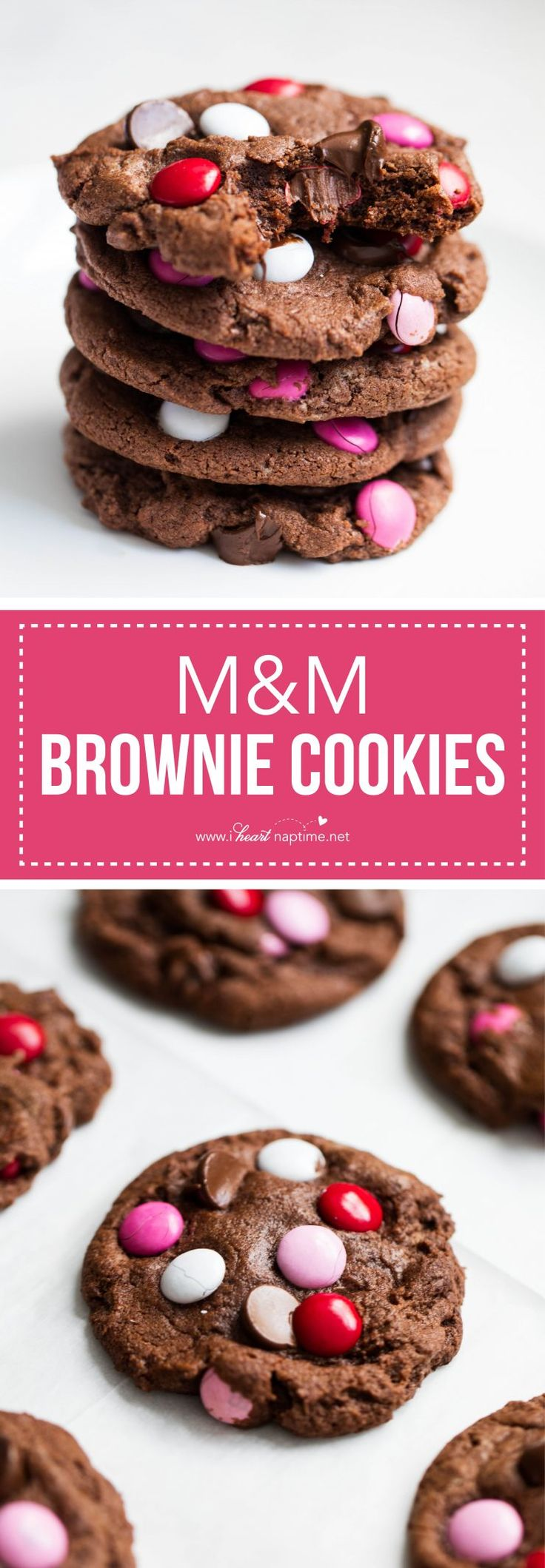 Fudgy M&M chocolate brownie cookies with extra chocolate chips and M&M's in the batter- the perfect cookie for Valentine's Day!