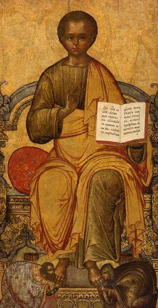 Деисус: «Спас Эммануил на престоле с припадающими свв. Артемоном и Евдокией»,