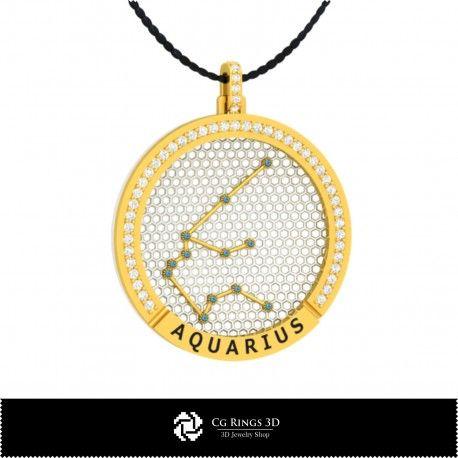 3D CAD Aquarius Zodiac Constellation Pendant