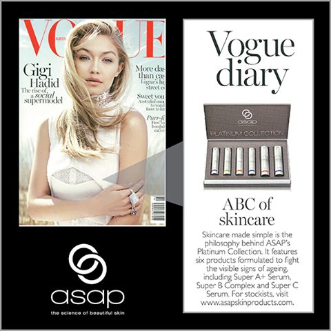 Asap's platinum pack is getting so much love in the press lately! Vogue magazine are the latest converts, with the pack featured as their top pick of on-shelf beauty buys in May. Don't miss out get your beauty fix in-salon now!