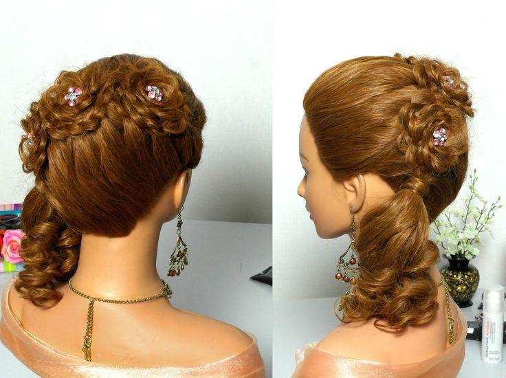 Праздничная прическа с цветами из ажурных кос. Прически для длинных волос.