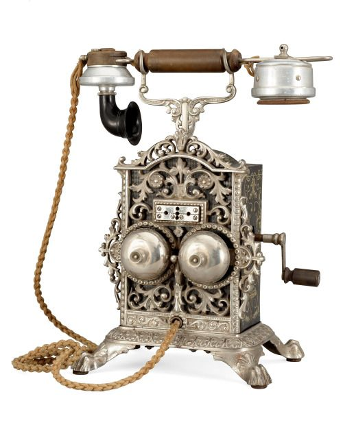 A Norwegian table telephone by Elektrisk Bureau, Kristiania, 19th Century.
