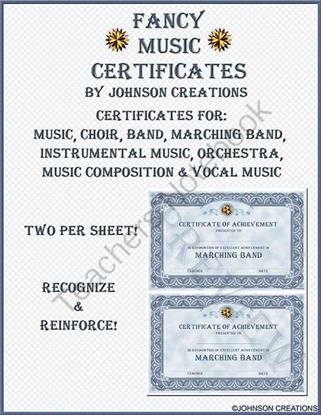 Fancy Music Certificates from JohnsonCreations from JohnsonCreations on TeachersNotebook.com (10 pages)  - Recognize your musicians' efforts! There are 2 certificates on each sheet to save you paper and ink! There are certificates for: Music Band Choir Instrumental Music Marching Band Vocal Music Music Composition Orchestra