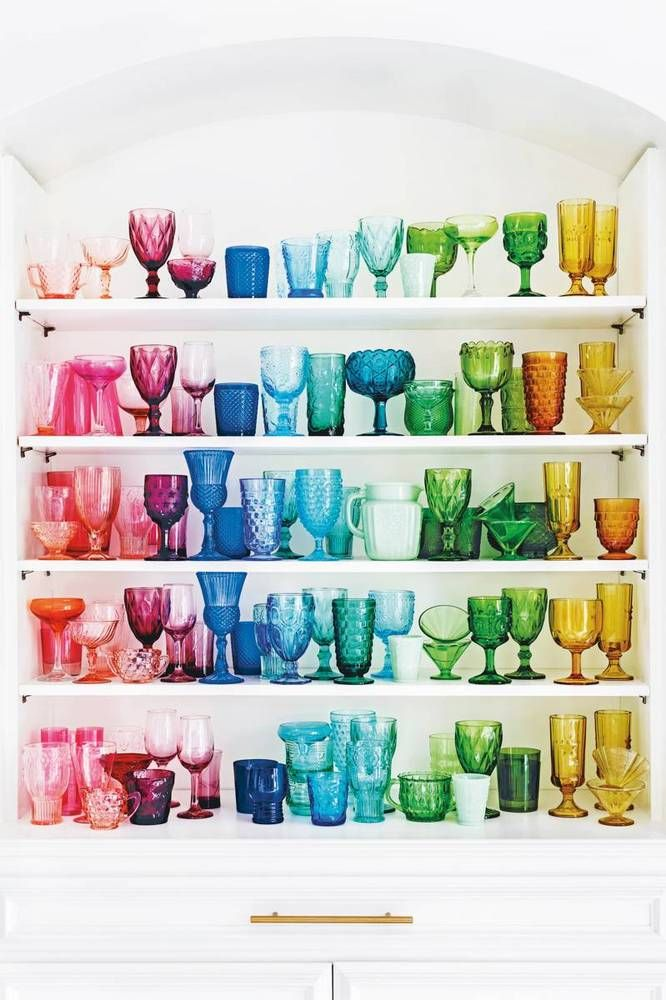 a rainbow glassware collection.