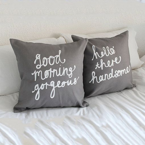 FREE SHIPPING 12X12 Custom His and Her Pillow Cover Set Hello There Handsome Good Morning Gorgeous Cushion Cover Personalized Gift Wedding Anniversary