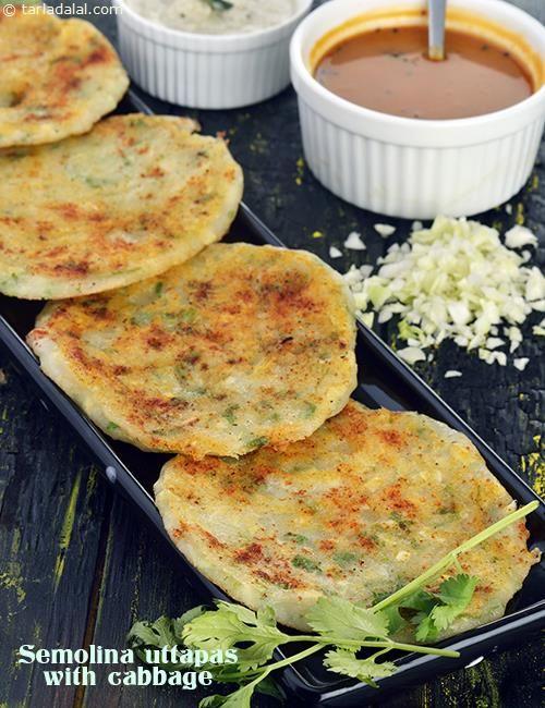 Semolina Uttapas with Cabbage, Rava Uttapa with Cabbage recipe | Quick Recipes | by Tarla Dalal |