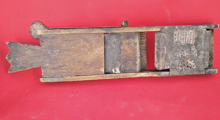 Old Antique Vegetable Wooden & Tin Grater & Cutter  Hand punched Multi tool #NaivePrimitive