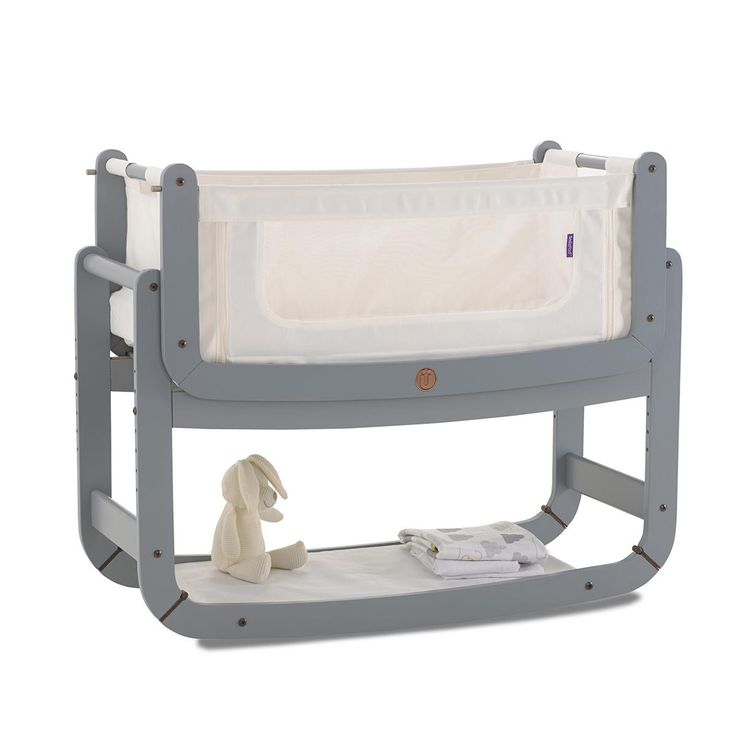 SnuzPod Bedside Crib Grey | Bedside Cots | The Little Green Sheep