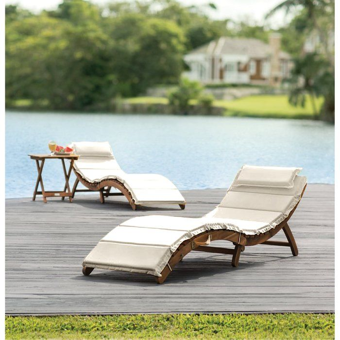 Salma Teak Chaise Lounge With Cushions And Table Reviews Joss Main Lounge Chair Outdoor Teak Chaise Lounge Outdoor Chaise Lounge
