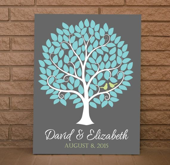 Wedding Guest Book – Wedding Sign Book - Wedding Signature Tree - 120 Signatures  Your Wedding Guest Tree With Signature Leaves comes with: •